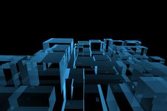 City 3D rendered xray blue Royalty Free Stock Images