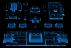 City (3D xray blue) Royalty Free Stock Photography