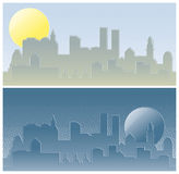 City. By day and night Stock Photography
