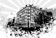 City. сity on a grunge background