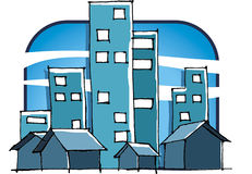 City. Buildings and houses stock illustration
