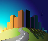 City. An illustration of a city during nighttime / daytime hours Stock Images