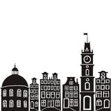 City. Vector silhouette illustration of an old town. easy to change color