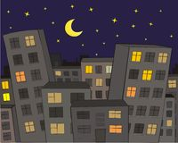 The City. At Night with moon and stars Stock Photos
