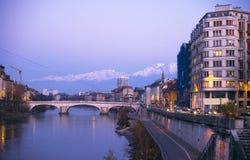 City. European city, Grenoble, with crane Stock Image