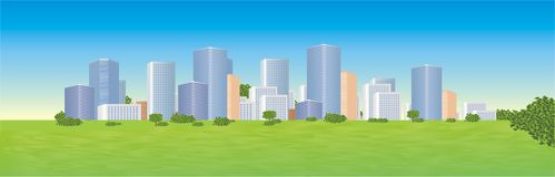 City. Moder city, series of city panoramic Stock Photography