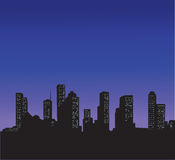 City. Night city horizon with windows Royalty Free Stock Photos