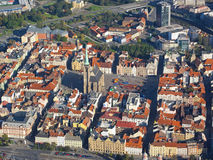 City from above. Aerial photo of historical center city Pilsen, Czech republic, European union Stock Photography