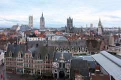 City from above. City of Ghent scenery from above Stock Photos