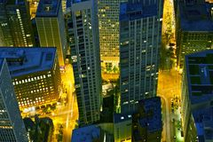 City From Above. At Night. Downtown Chicago, Illinois, USA. American Cities at Night Photo Collection Stock Photography