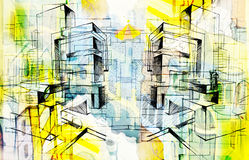 City and abstract and drawing and architecture. City-abstract and drawing and architecture Royalty Free Stock Images