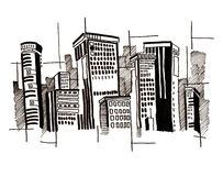 City and abstract and drawing and architecture Stock Images