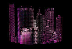 City abstract glowing. Illustration of night city on a dark background stock image