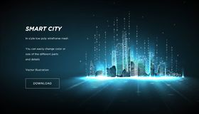 City of the Abstract low poly wireframe.Concept of smart cityand flow binary code.Plexus lines and points in the constellation. City of the Abstract low poly royalty free illustration