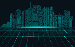 City. Abstract science background, abstract technology background; digital landscape; digital building in matrix style; city of light Royalty Free Stock Photos