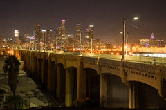 City Across the Bridge. Los Angeles seen from the east across a bridge Stock Photo