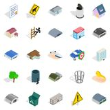 City administration icons set, isometric style Royalty Free Stock Images