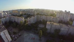 City aerial, bedroom suburb buildings, view from the air. Stock footage stock video footage