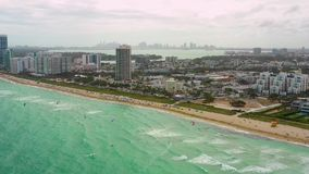 City aerial drone video Miami Beach summer stock footage. USA stock footage