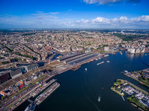 City aerial view over Amsterdam. The Netherlands. View from the bird's flight Stock Images