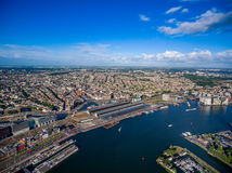 City aerial view over Amsterdam Royalty Free Stock Images