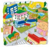 City aerial view, shops,supermarket Stock Photos