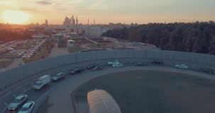 City Aerial View at Sunset stock video footage