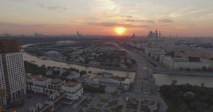 City Aerial View at Sunset stock video
