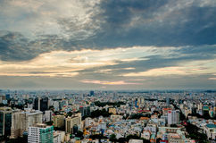 City on the afternoon high. Ho Chi Minh City, Viet Nam in the afternoon view from above of the great and beautiful royalty free stock image