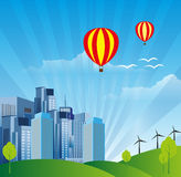 City And Air Balloons background Royalty Free Stock Photo