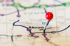 City Akron pin on the map. City pin on the  map Royalty Free Stock Images