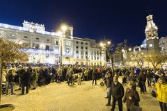 The city of Alcoy prepared to receive its magestades the Three K. Alcoy, Spain. January 5, 2018: The city of Alcoy prepared to receive its magestades the Three Royalty Free Stock Image