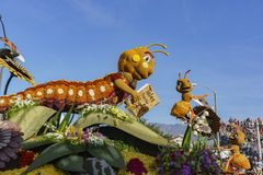 City of Alhambra's Nature, Insect style float in the Famous Rose. Pasadena,  JAN 1: City of Alhambra's Nature, Insect style float in the Famous Rose Parade stock photography