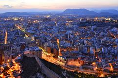 City of Alicante at dusk royalty free stock image