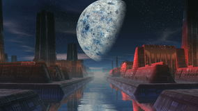 City of Aliens and a Huge Moon stock video footage