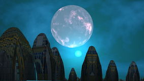 City of aliens, moon and UFO. High structures stand among water. In the night star sky major gray planet (moon). The round being shone object (UFO) flies stock video