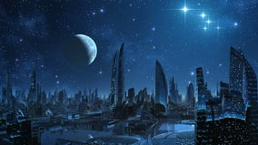 City of aliens. Over a city the moon and stars weighs and are reflected in water. All is flooded by blue light