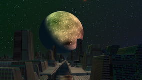 The city of aliens, planet and flickering UFO stock video footage