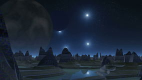 City of aliens, two moons and UFOs stock video