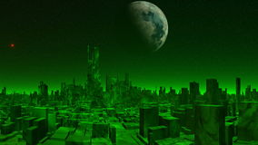 City of aliens and UFO. The city of aliens consists of high buildings. The atmosphere on a planet of green color. Over the horizon a green being shone fog. In stock footage
