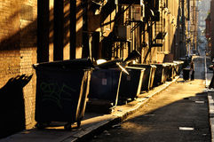 City Alley. And trash bin royalty free stock photos