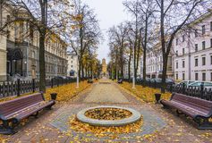 City alley, Minsk. City alley in Minsk downtown on a autumn day, Belarus stock photo