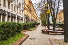 City alley, Minsk. City alley in Minsk downtown on a autumn day, Belarus stock photos