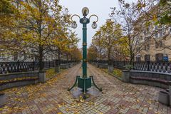 City alley, Minsk. City alley in Minsk downtown on a autumn day, Belarus royalty free stock photography