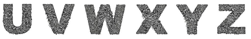 City alphabet letters U to Z Stock Image