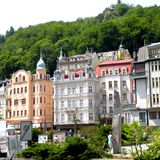 Karlovy Vary, Czech Republic, a popular tourist destination, especially known for international celebrities visiting for spa treat. The city is also known for Stock Images