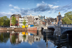 City of Amsterdam by the Amstel River Stock Photography