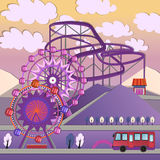 01 City Amusement park. Vector illustration of big City amusement park Vector Illustration