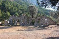 City of ancient Olympos. Ruins of ancient town of Olympos in Turkey Royalty Free Stock Images