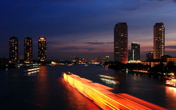 City And The River In The Night Time. Royalty Free Stock Images